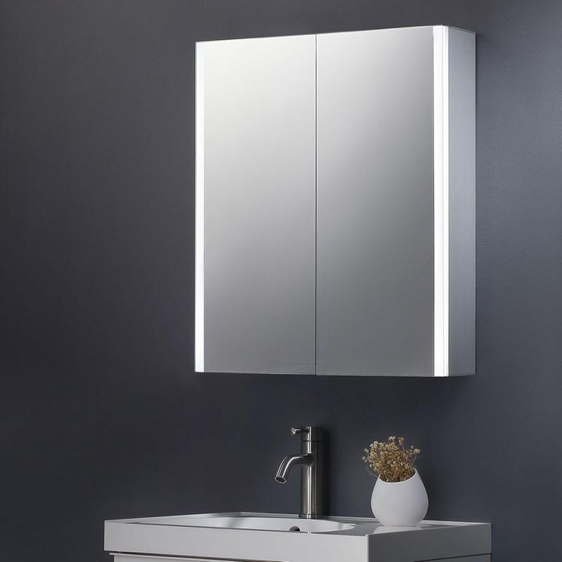 Harbour Icon Double Door Led Bathroom, Bathroom Mirror Cabinet With Shaver Socket