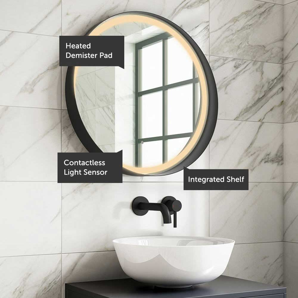 Harbour Status Led Illuminated Black Frame Round Mirror With Demister Pad Colour Change Leds 800mm Drench