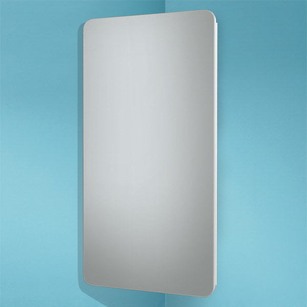 Hib Turin Corner Gloss White Mirror Cabinet 300 X 600mm Drench